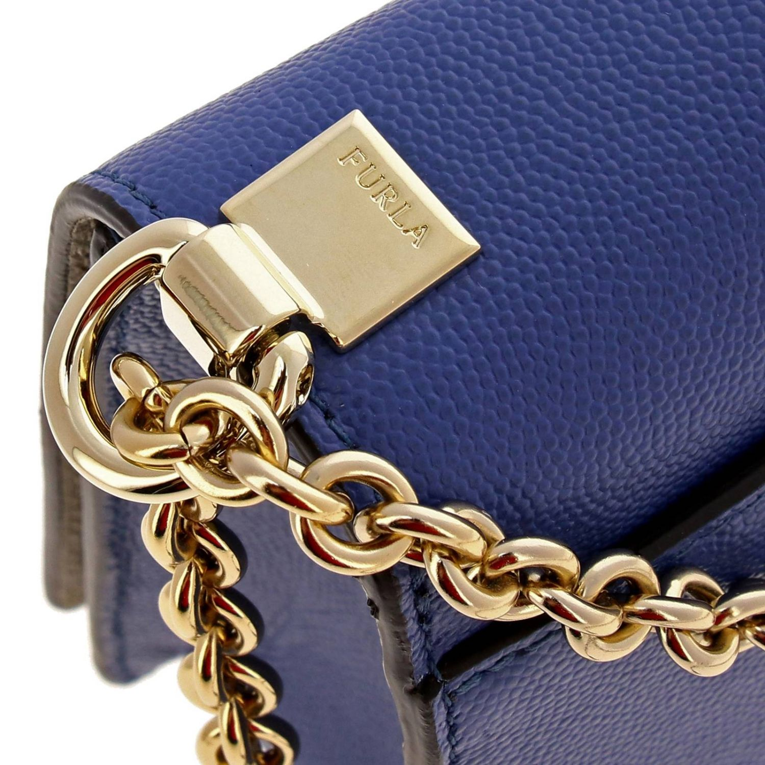 Mini bag Furla: Mimì Furla mini bag in textured leather with shoulder strap periwinkle 4