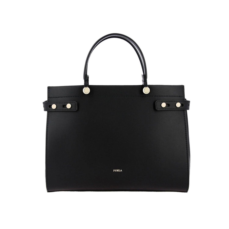 Handbag Furla: Lady Furla leather tote bag with logo black 1