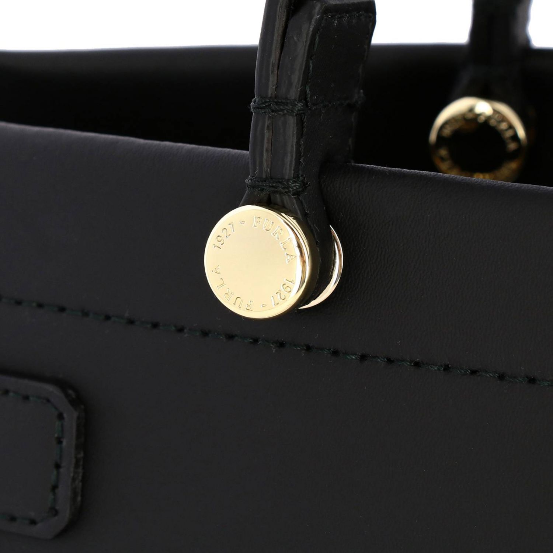 Handbag Furla: Lady Furla leather tote bag with logo black 4