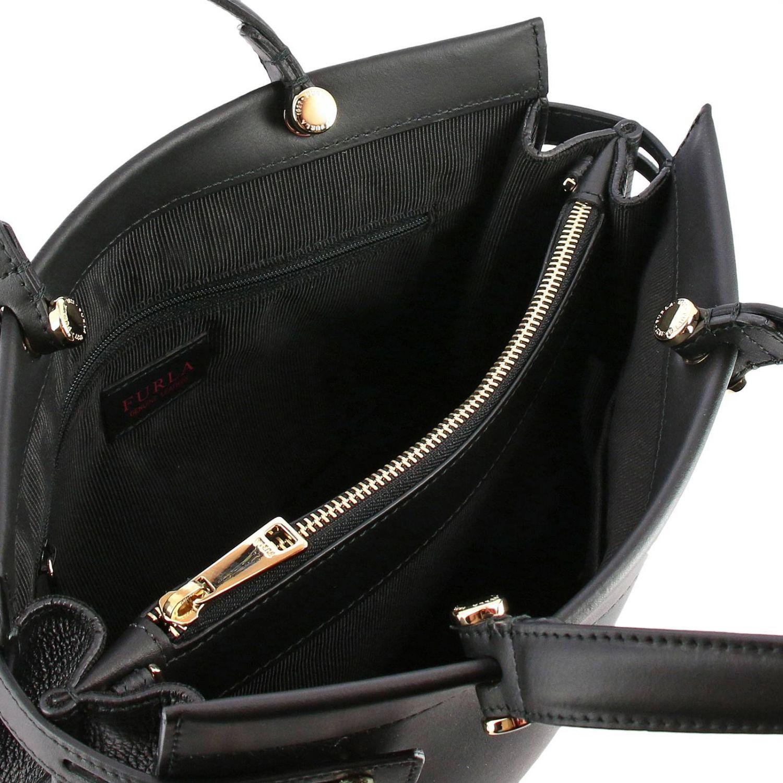 Handbag Furla: Lady Furla leather tote bag with logo black 5