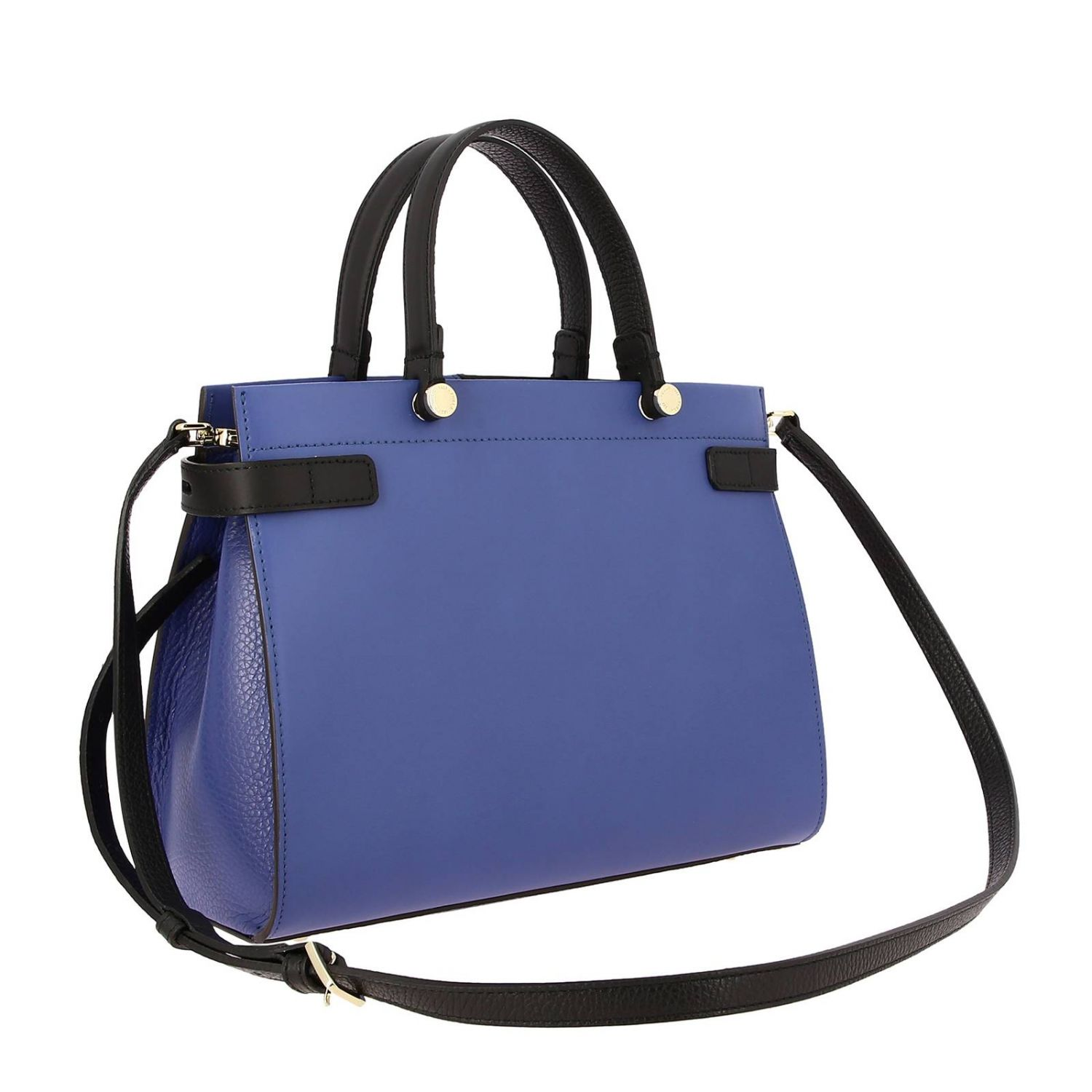 Borsa Lady Furla tote in pelle color block con logo pervinca 3