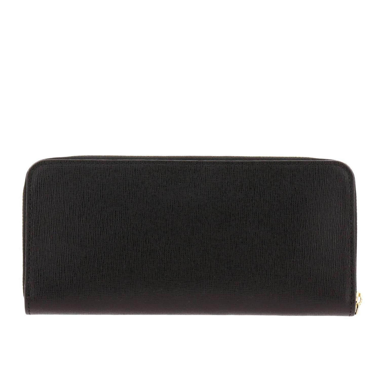 Portafoglio Babylon XL zip around in pelle saffiano con logo Furla nero 3