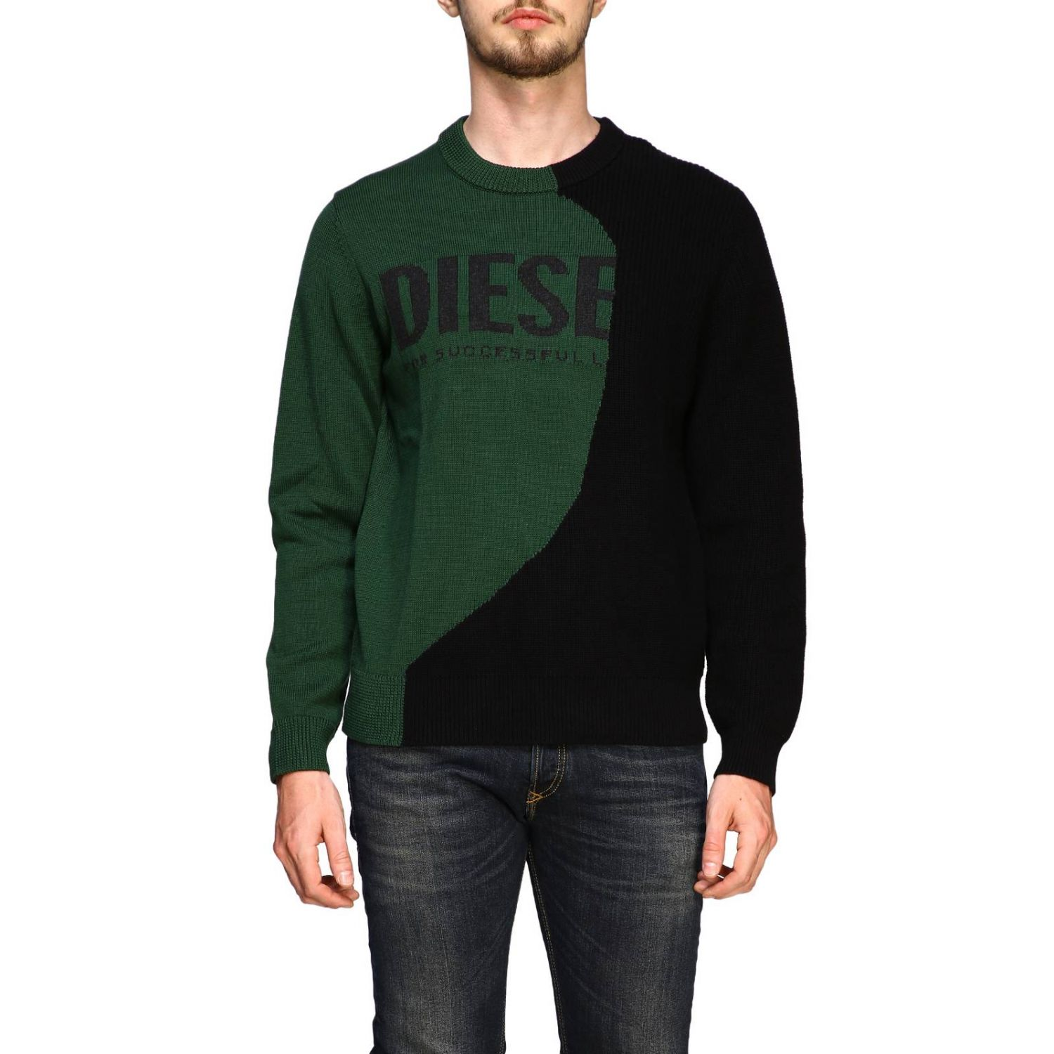 Diesel crew neck pullover with maxi logo forest green 1