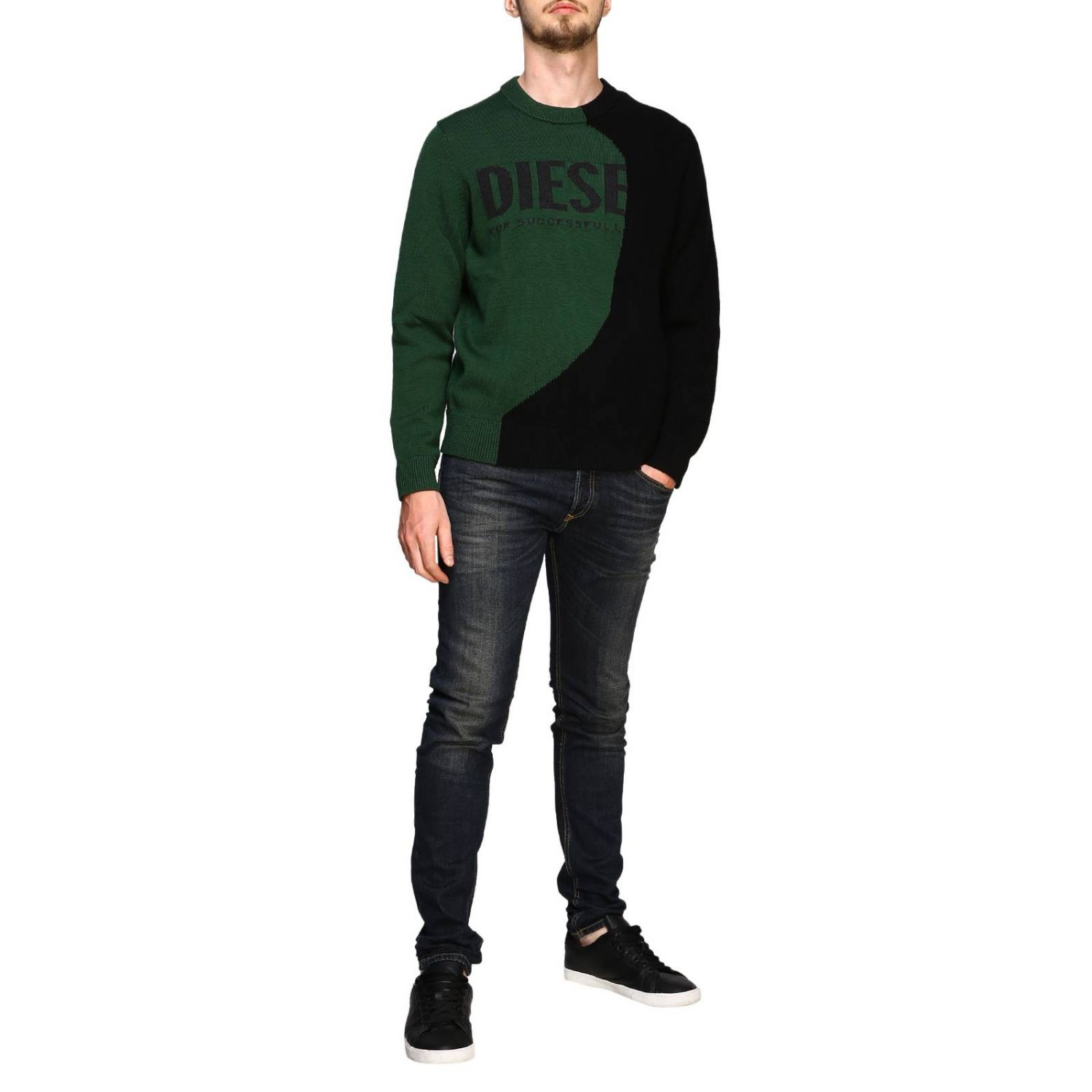 Diesel crew neck pullover with maxi logo forest green 2