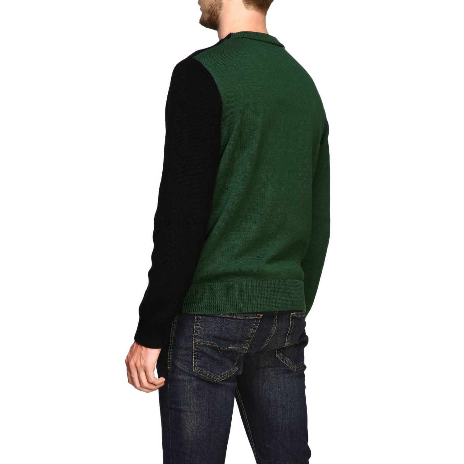 Diesel crew neck pullover with maxi logo forest green 3