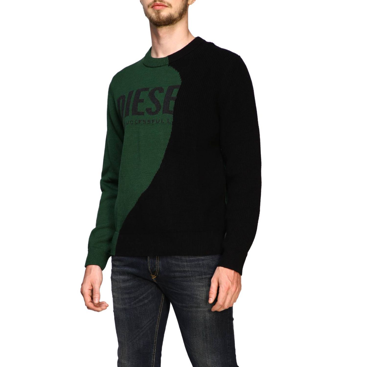 Diesel crew neck pullover with maxi logo forest green 4