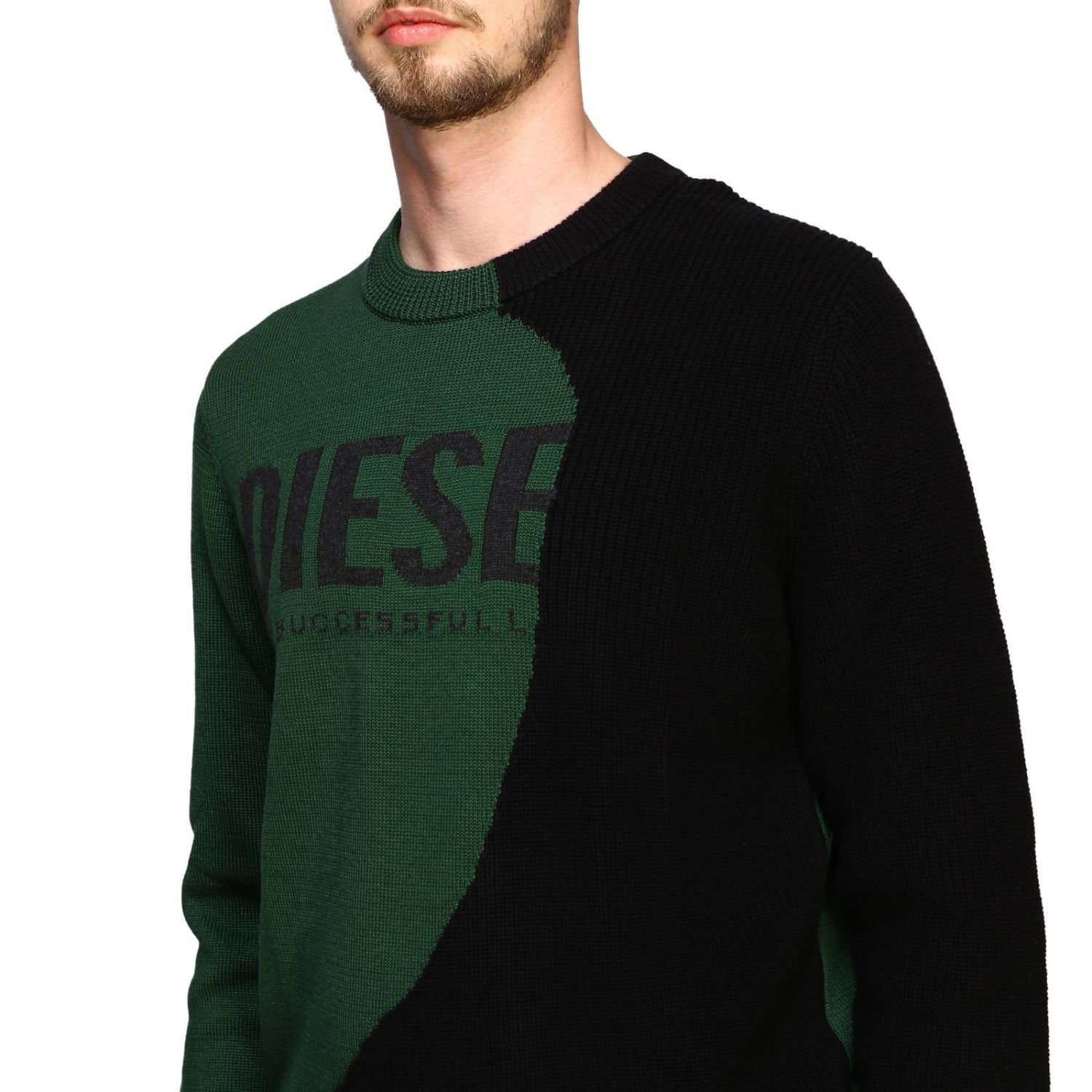 Diesel crew neck pullover with maxi logo forest green 5