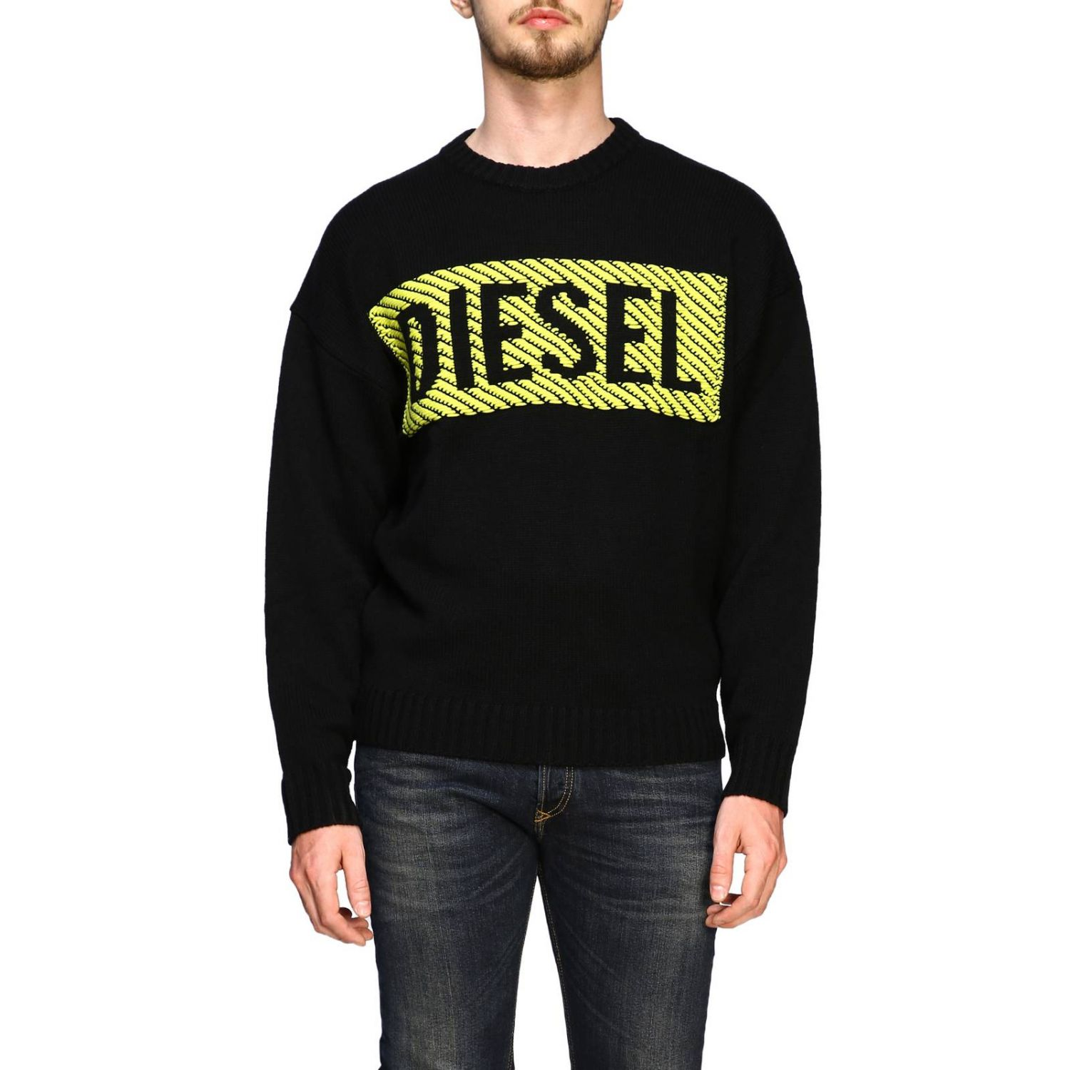Diesel crew neck pullover with maxi logo black 1