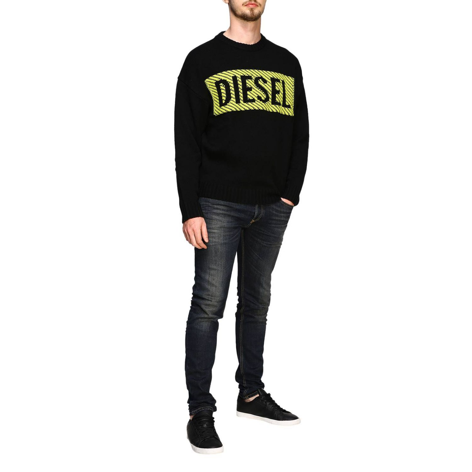 Diesel crew neck pullover with maxi logo black 2