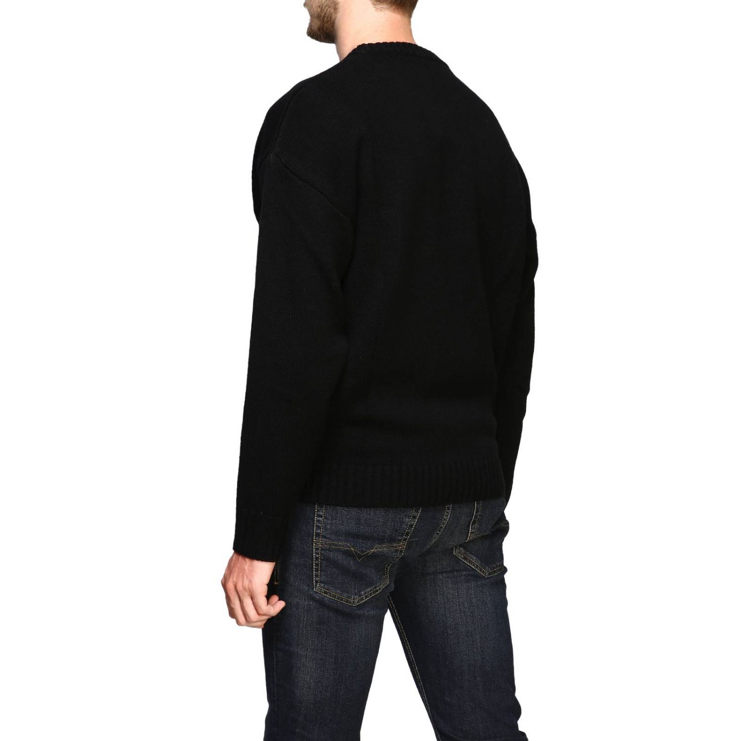 Diesel crew neck pullover with maxi logo black 3