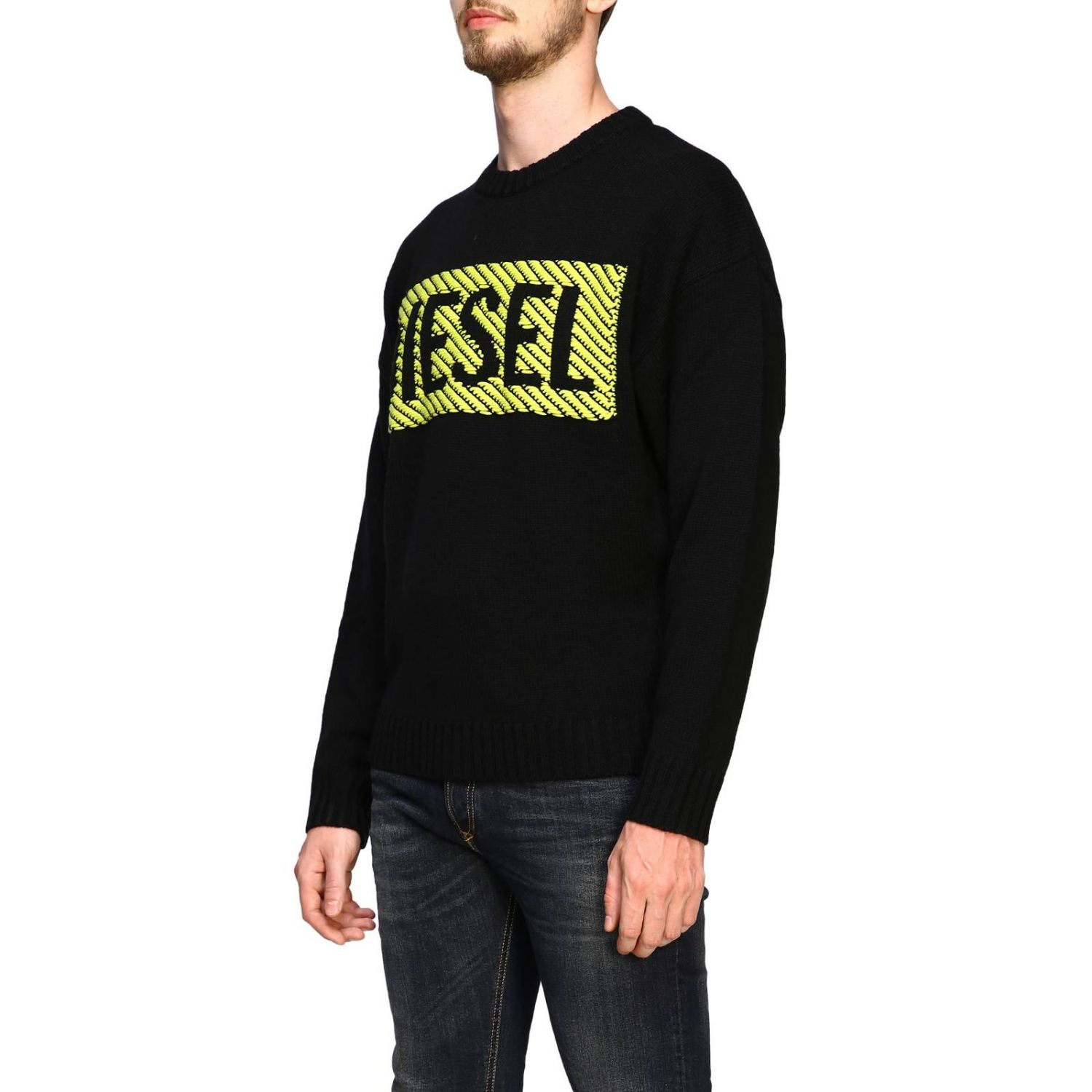 Diesel crew neck pullover with maxi logo black 4