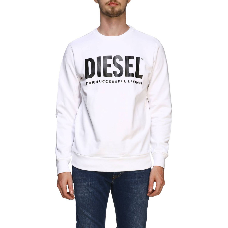 Diesel Sweatshirt mit Rundhalsausschnitt und Maxi-Logo-Print weiß 1
