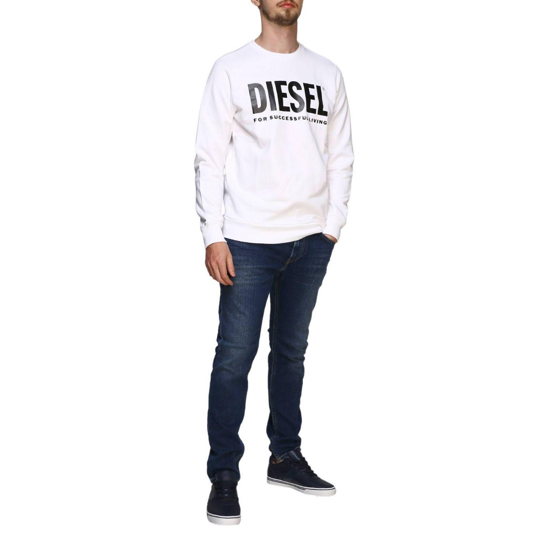 Diesel Sweatshirt mit Rundhalsausschnitt und Maxi-Logo-Print weiß 2