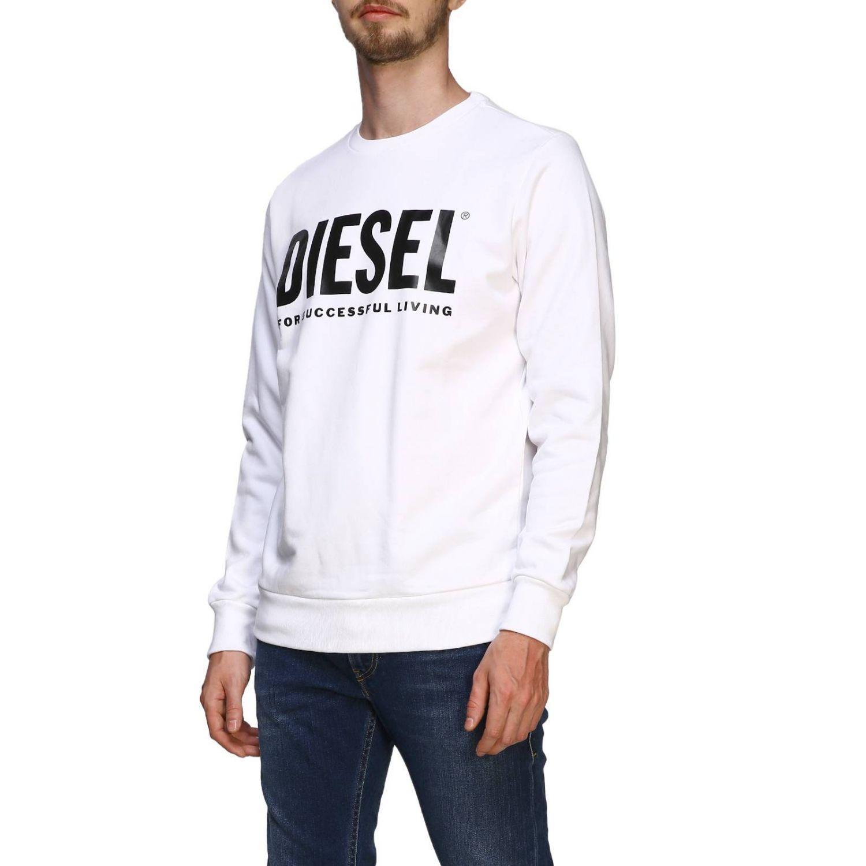 Diesel crew neck sweatshirt with maxi print logo white 4