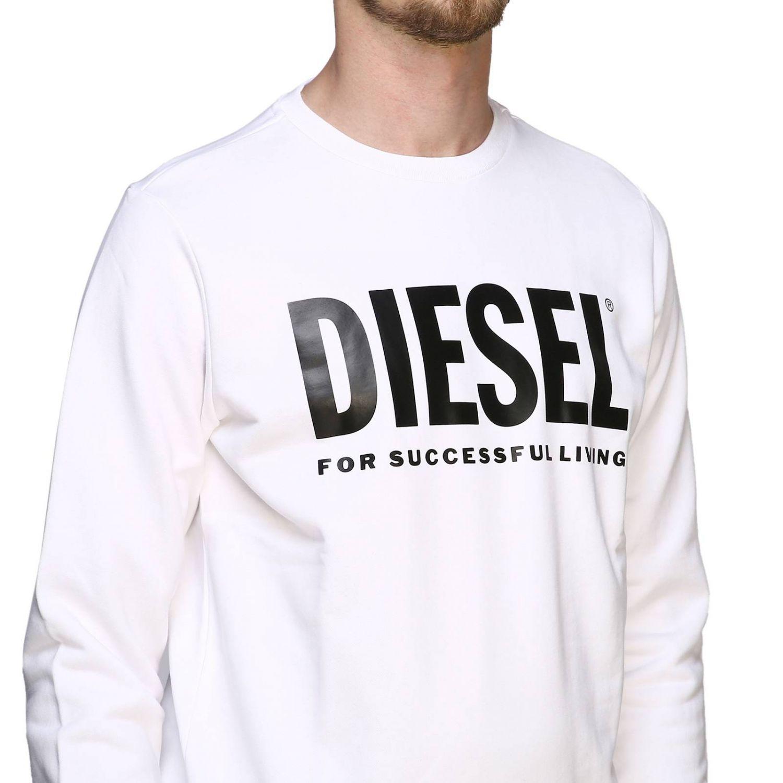 Diesel crew neck sweatshirt with maxi print logo white 5