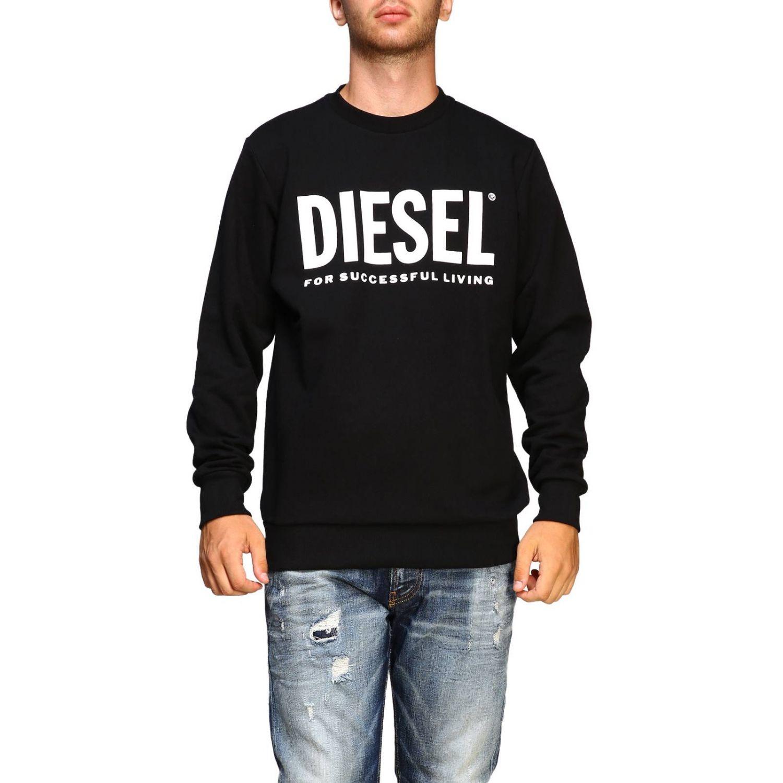 Felpa Diesel a girocollo con maxi stampa logo nero 1