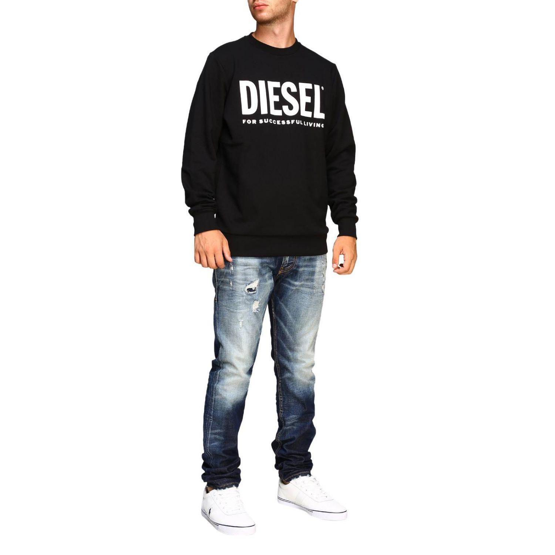 Felpa Diesel a girocollo con maxi stampa logo nero 2