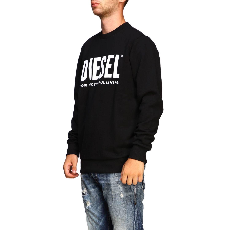 Felpa Diesel a girocollo con maxi stampa logo nero 4
