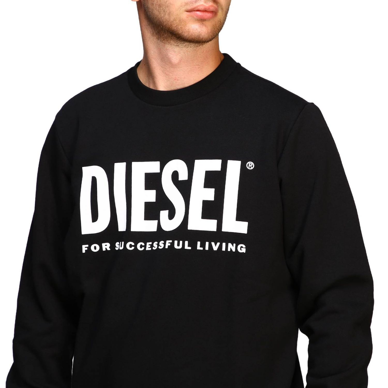 Felpa Diesel a girocollo con maxi stampa logo nero 5
