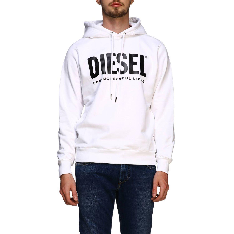 Diesel sweatshirt with hood and maxi print logo white 1