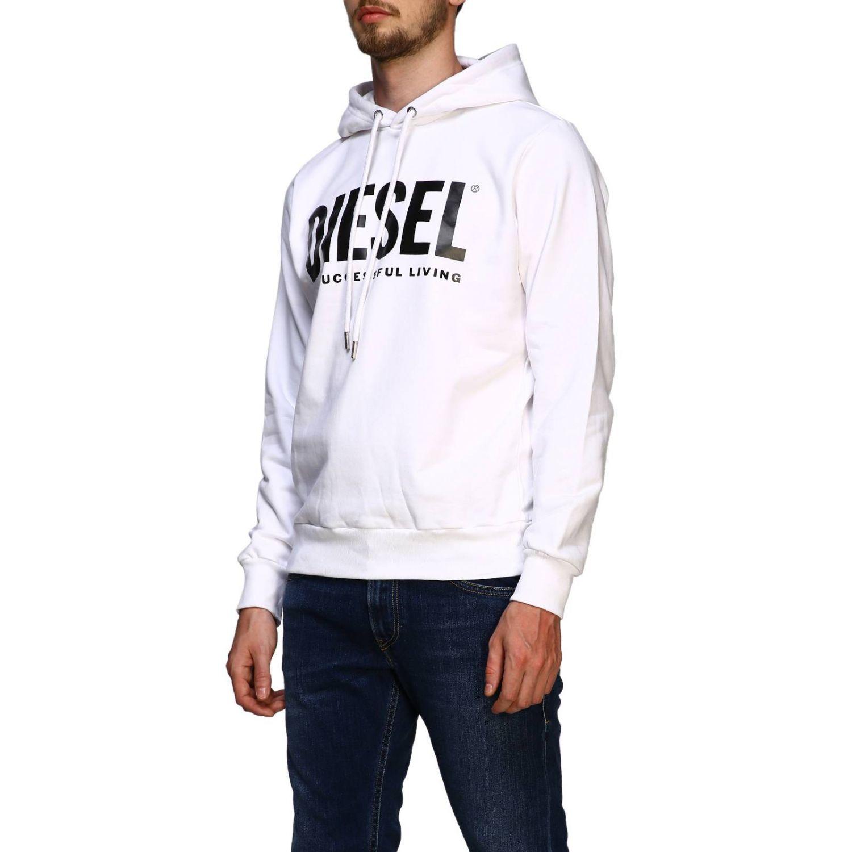 Diesel sweatshirt with hood and maxi print logo white 4