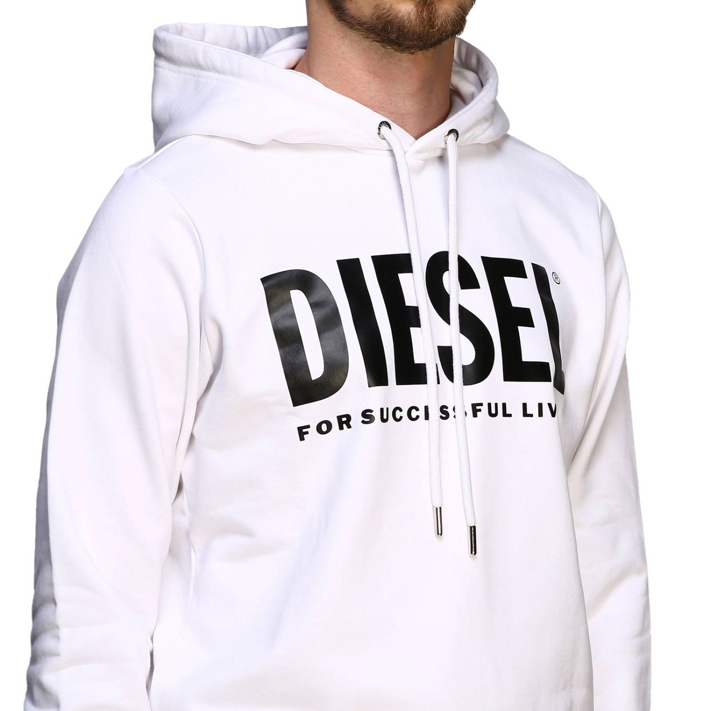 Diesel sweatshirt with hood and maxi print logo white 5