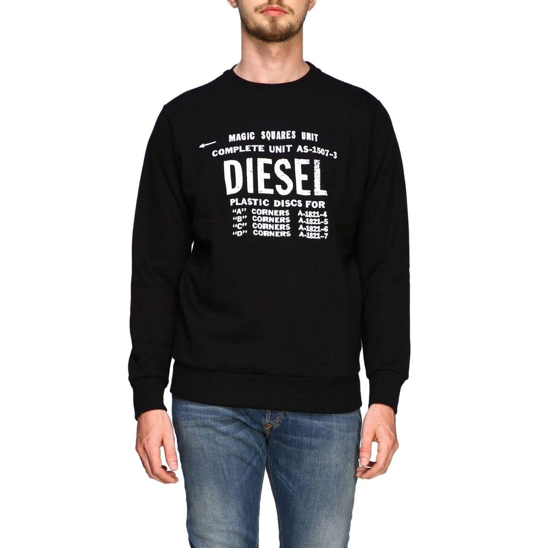 T-shirt Diesel à manches longues avec maxi logo imprimé noir 1