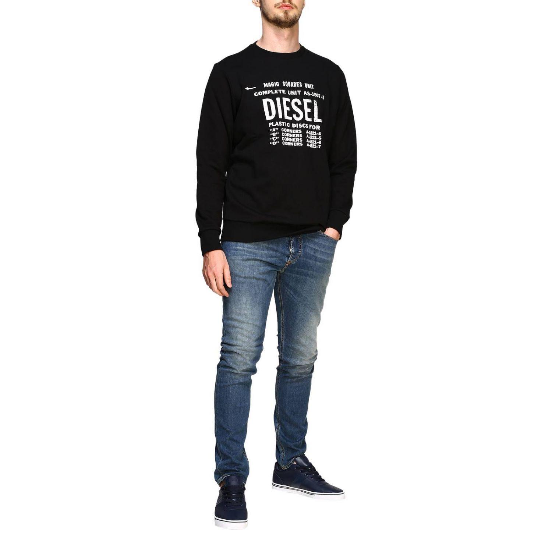T-shirt Diesel à manches longues avec maxi logo imprimé noir 2