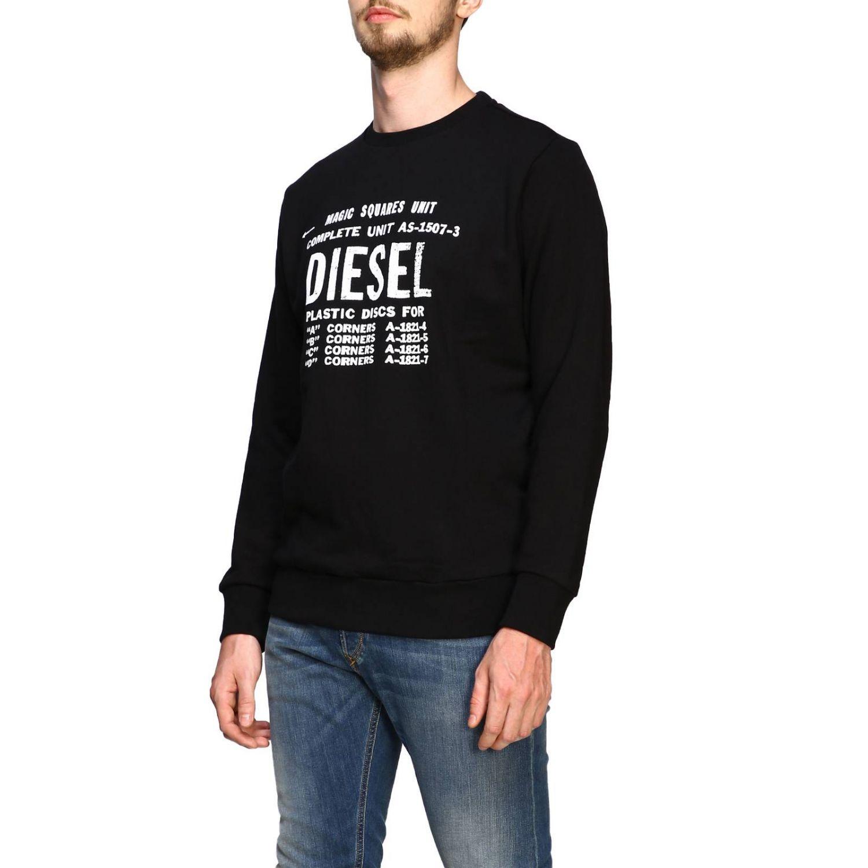 T-shirt Diesel à manches longues avec maxi logo imprimé noir 4