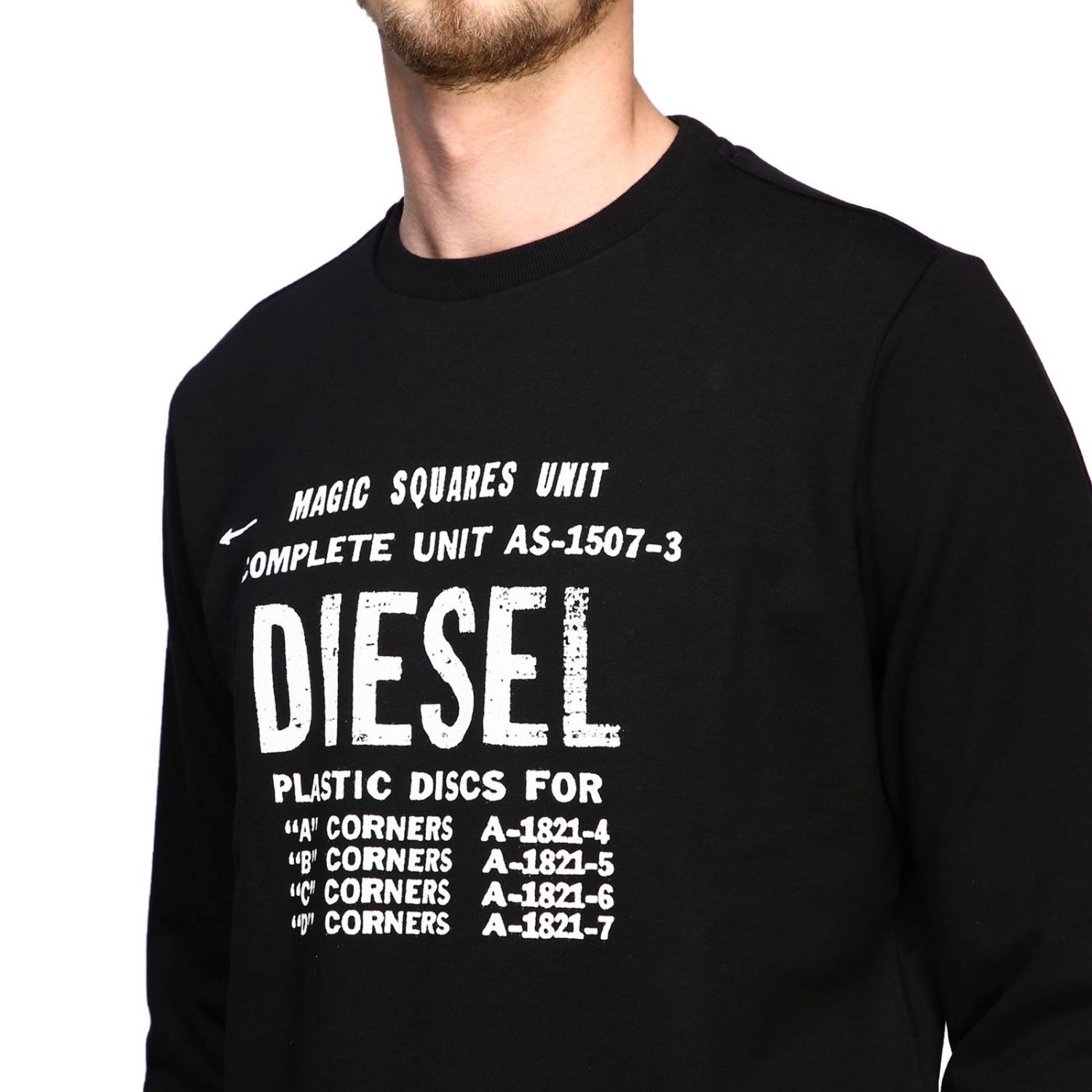Long-sleeved Diesel T-shirt with maxi logo print black 5