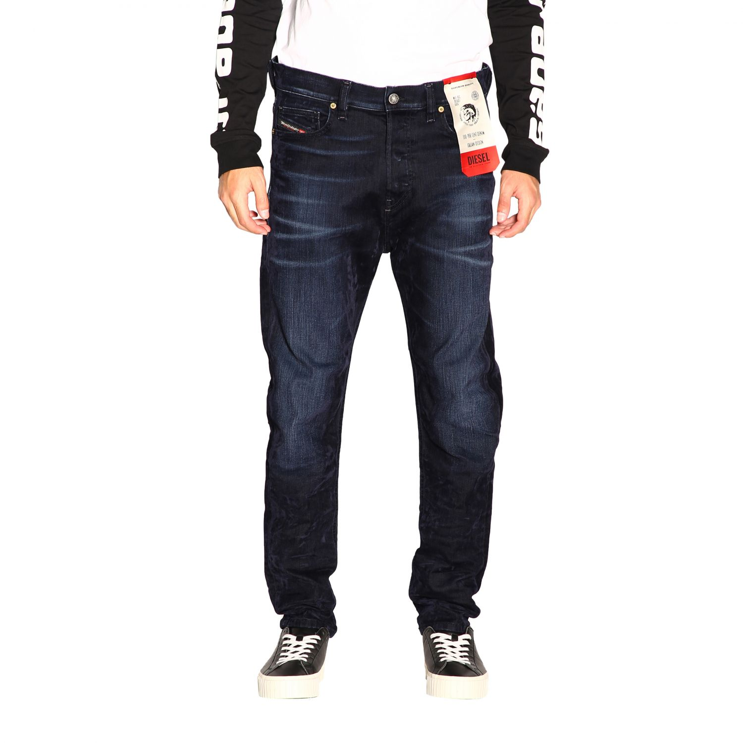 Jeans Diesel: Diesel D-vider Stretch jeans with low crotch and velvet treatment blue 1