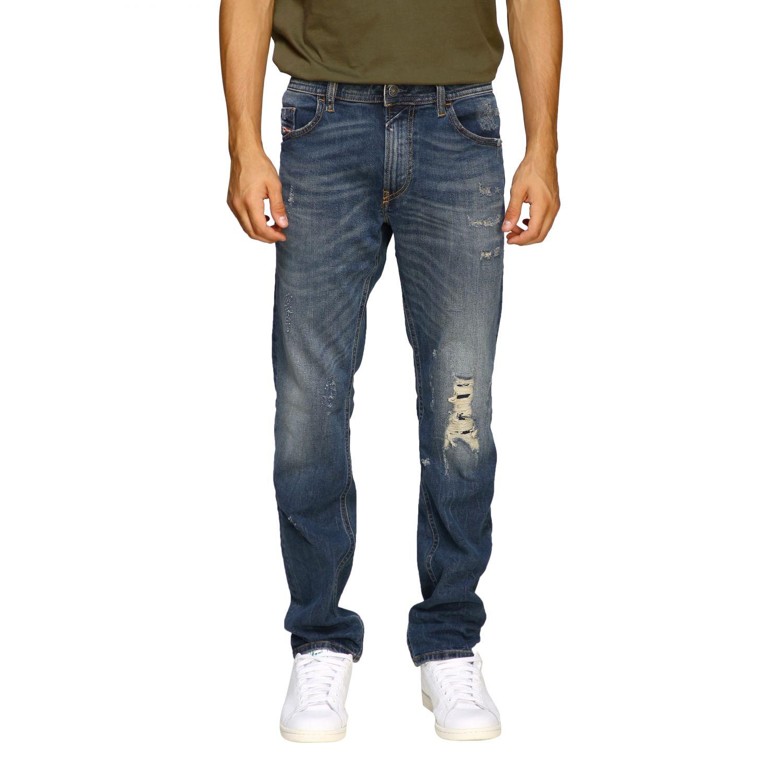Jeans Diesel: Diesel Thommer slim skinny stretch jeans in used denim with 5 pockets and breaks denim 1
