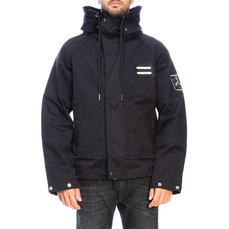 Jacke Diesel: Dieseljacke aus Baumwolle mit übergroßer Kapuze und Kordelzug schwarz 1