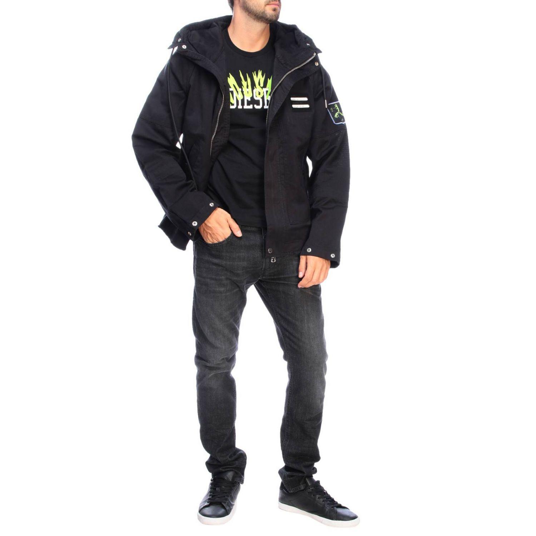 Jacke Diesel: Dieseljacke aus Baumwolle mit übergroßer Kapuze und Kordelzug schwarz 2