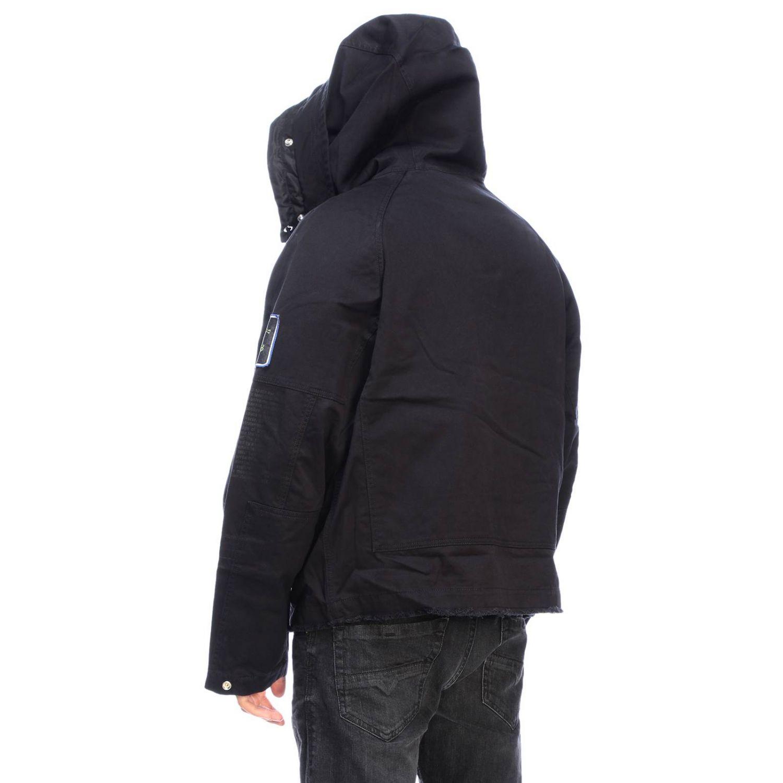 Jacke Diesel: Dieseljacke aus Baumwolle mit übergroßer Kapuze und Kordelzug schwarz 3