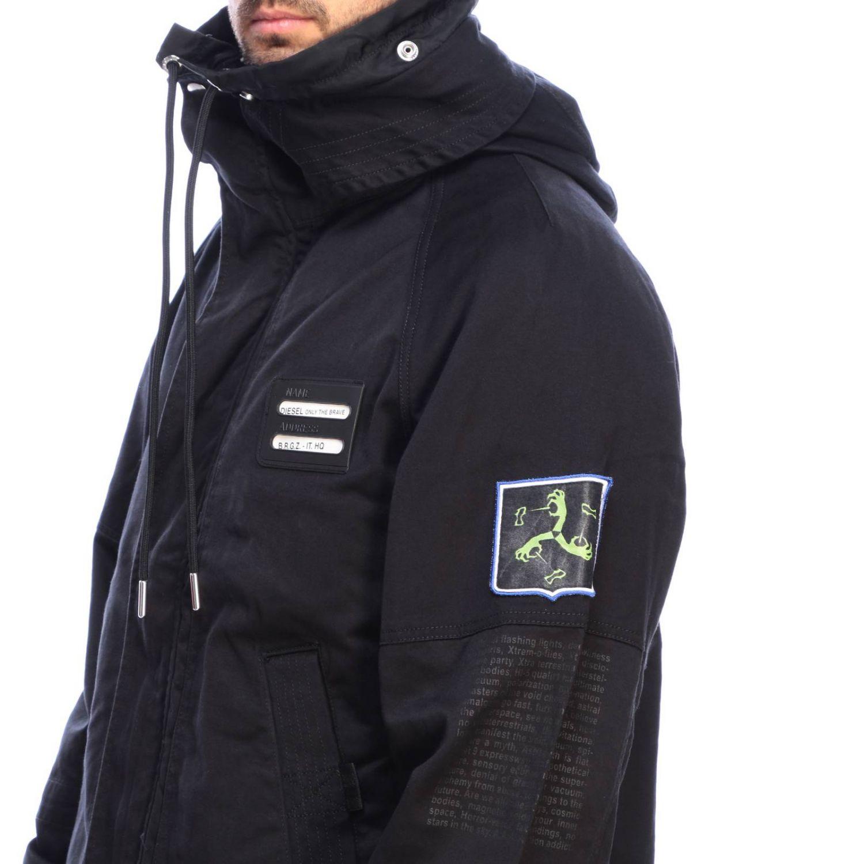 Jacke Diesel: Dieseljacke aus Baumwolle mit übergroßer Kapuze und Kordelzug schwarz 4