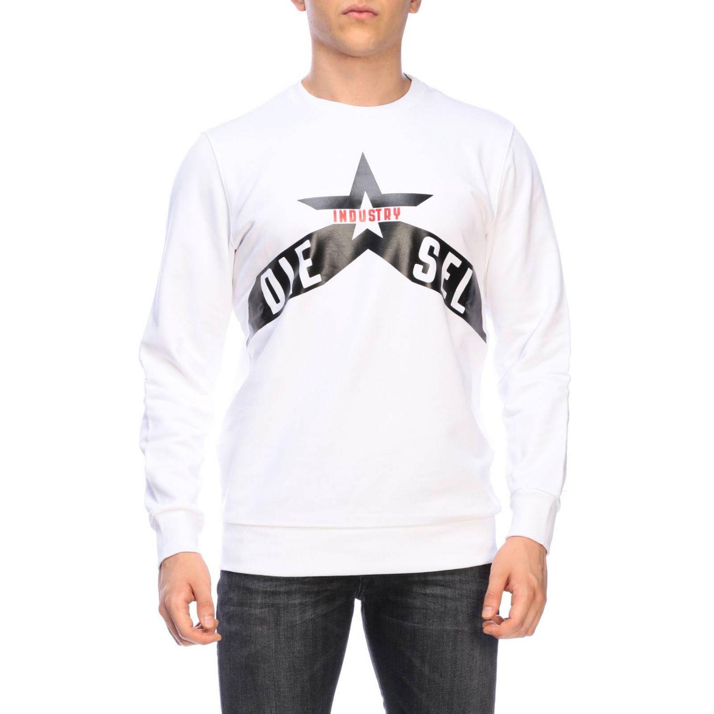 Diesel crew neck sweatshirt with maxi print logo white 1