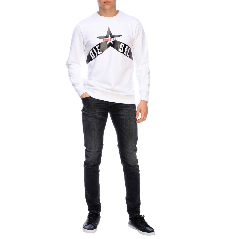 Diesel crew neck sweatshirt with maxi print logo white 2