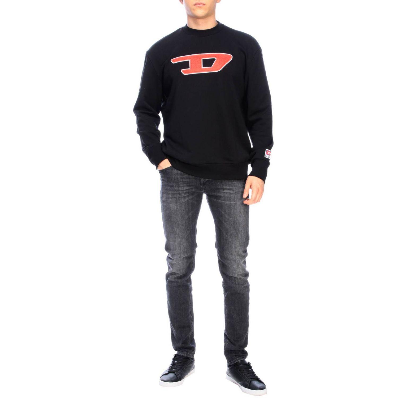 Pullover Diesel: Diesel Sweatshirt mit Rundhalsausschnitt und Maxi Logo schwarz 2