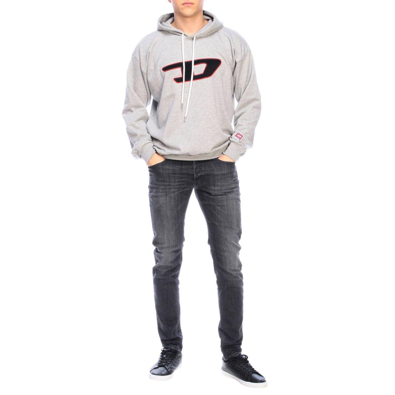 Felpa Diesel con cappuccio e maxi logo in spugna grigio 2