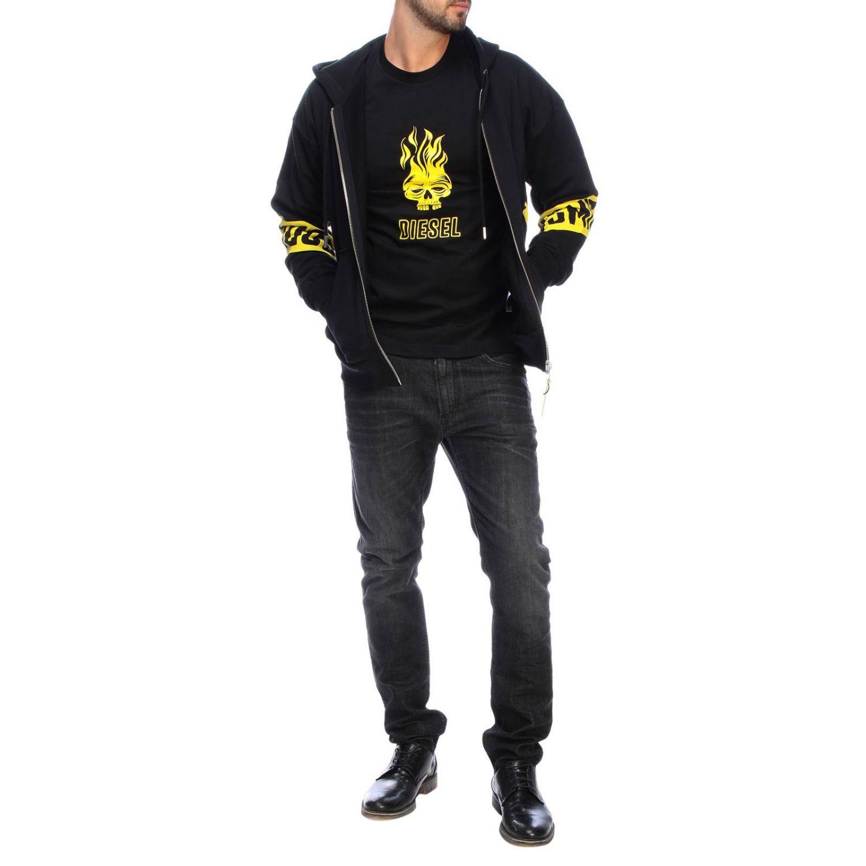 Diesel Sweatshirt mit Kapuze und Reißverschluss mit Logo-Print auf der Rückseite schwarz 2