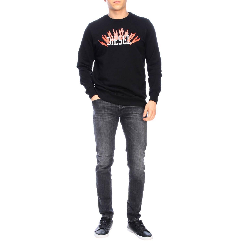 Diesel crew neck sweatshirt with maxi print logo black 2