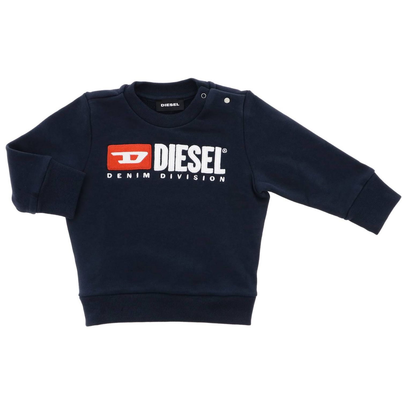 Maglia Diesel: Felpa Diesel a girocollo con logo e bottoni automatici grigio 1