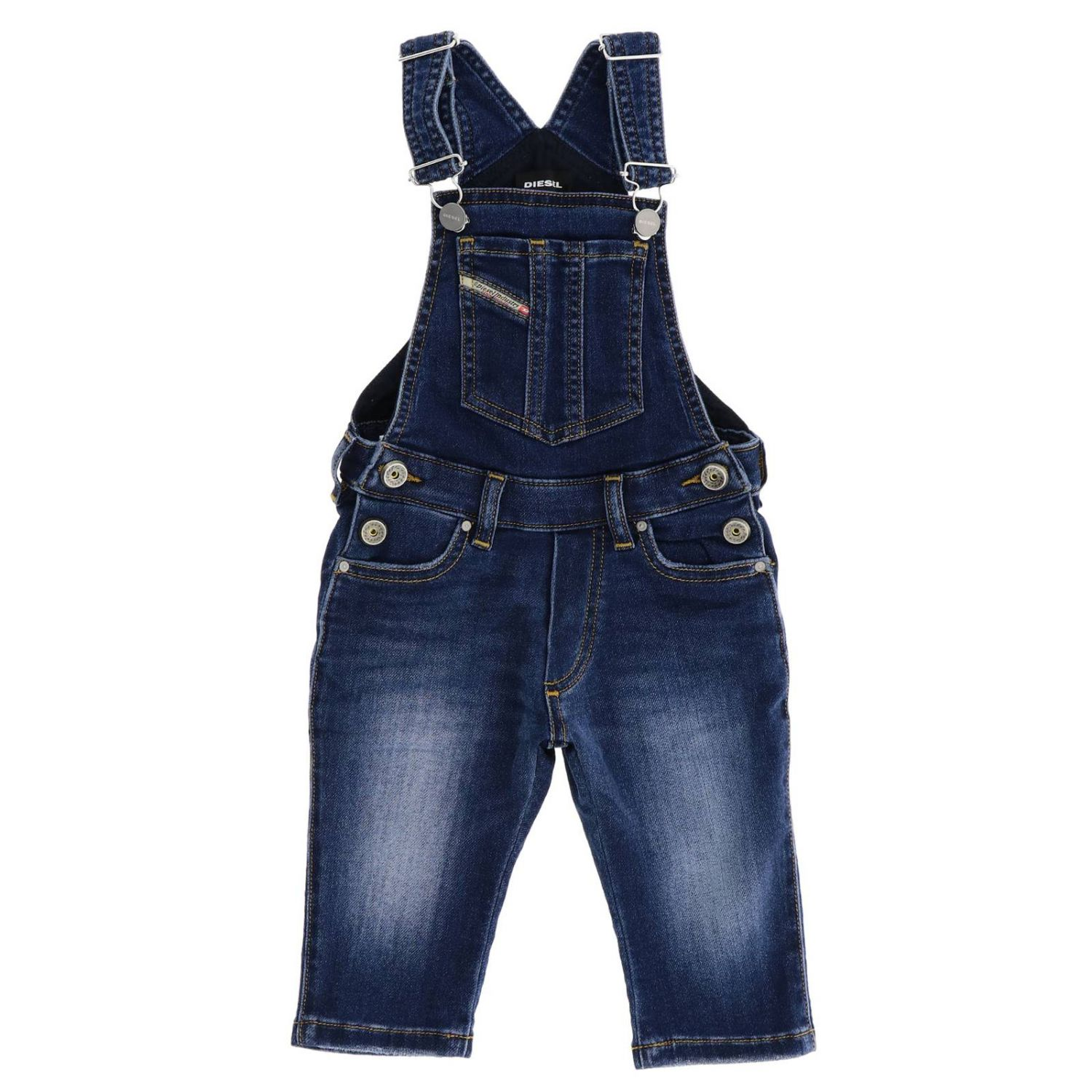Tuta Diesel: Salopette di jeans Diesel in denim used denim 1