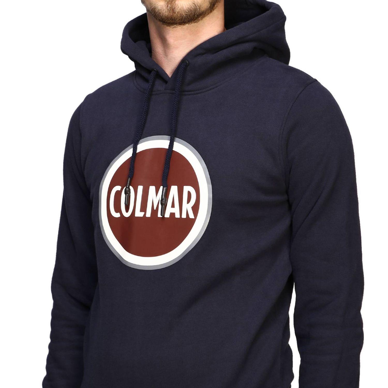 Felpa Colmar con cappuccio e logo blue navy 5