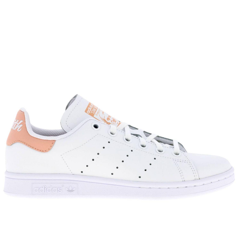 Zapatos Adidas Originals: Zapatillas Stan Smith Adidas Originals de cuero con tacón en contraste blanco 1