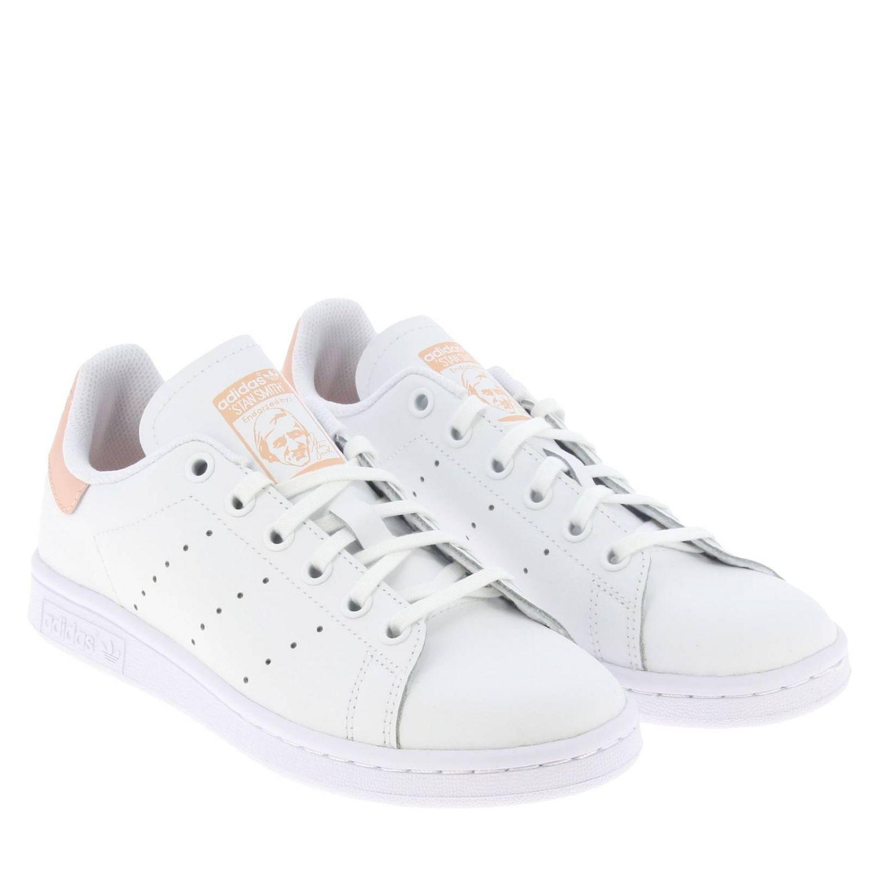 鞋履 Adidas Originals: Adidas Originals Stan Smith 真皮对比后跟运动鞋 白色 2