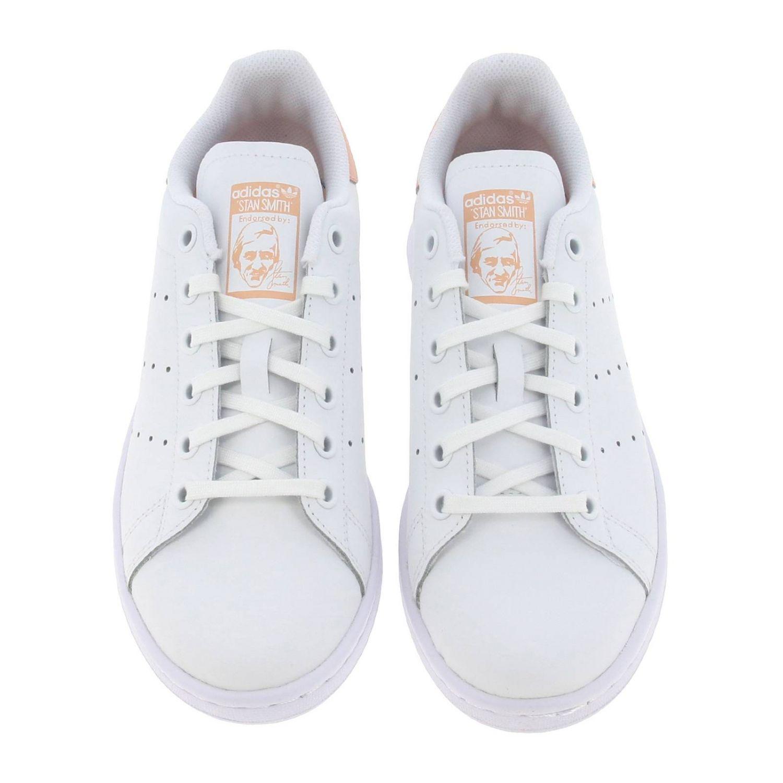 鞋履 Adidas Originals: Adidas Originals Stan Smith 真皮对比后跟运动鞋 白色 3