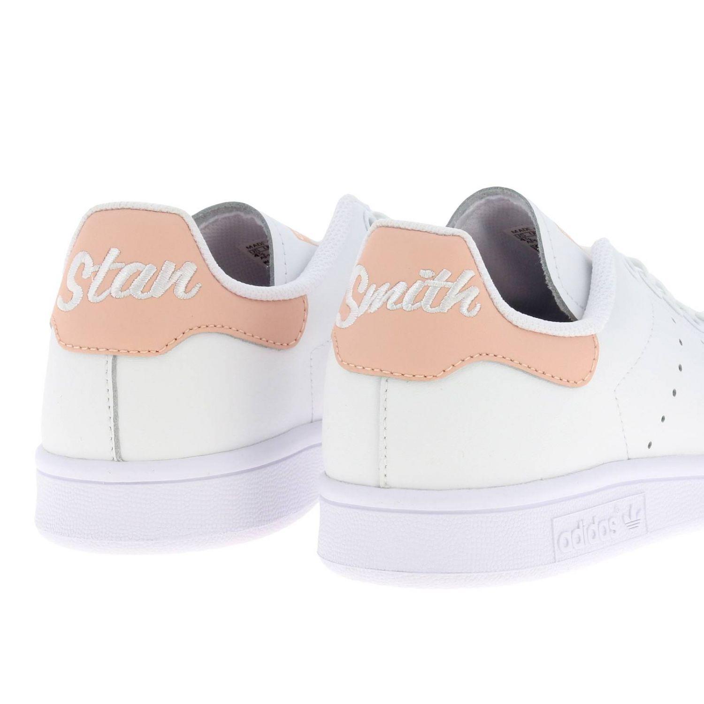 鞋履 Adidas Originals: Adidas Originals Stan Smith 真皮对比后跟运动鞋 白色 5