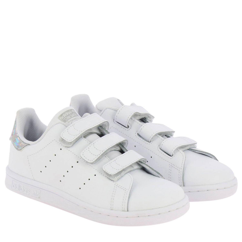 鞋履 Adidas Originals: Adidas Originals Stan Smith 真皮镜面后跟运动鞋 白色 2